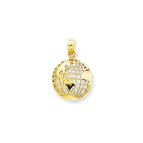 14K Yellow Gold World Globe Charm Pendant