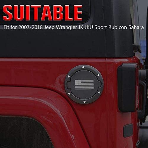 Bandiera USA SODIAL Sportello del Bocchettone di Rifornimento Carburante Tappo Serbatoio Accessori per 2007-2017 JK e Sport Illimitato Rubicon Sahara