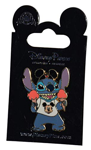 Disneyland Stitch Mickey Ears Hat & Ice Cream Trading Pin Theme Park Exclusive