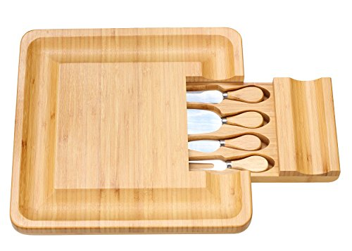 Cortesi Home CH-AX900305 Handi Natural Bamboo Cheese Serving Board Table Set with 4 Stainless Steel Knives 13.25'' Brown by Cortesi Home (Image #4)