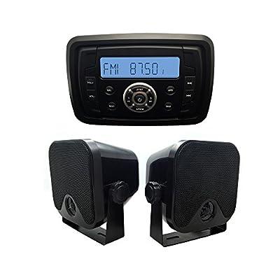 Herdio Waterproof UTV ATV Radio MP3 Audio Receiver with Bluetooth Music Marine Stereo Sound System + 4inch Marine Box Speakers(Black)