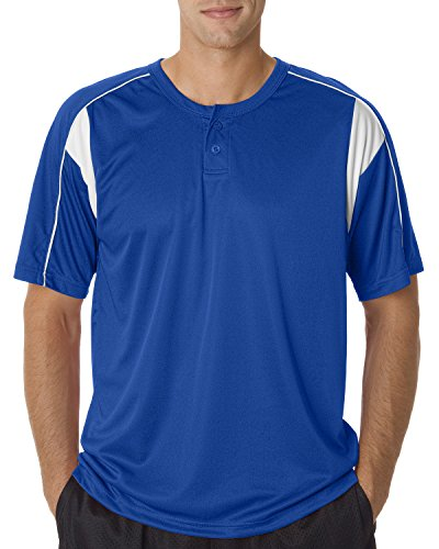 Badger Baseball Jersey - Badger Adult Pro Placket Performance Henley Tee - Royal/ White - L