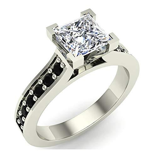 Black & White Princess Cut Diamond Engagement Ring 14K White Gold 1.00 ct tw (Ring Size 6)