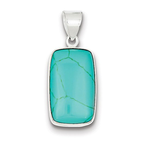 .925 Sterling Silver Rectangle Turquoise Charm Pendant Rectangle Turquoise Pendant