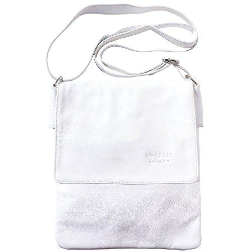 Bolso mediano de piel hecha con cuero genuino y suave del becerro 416 Blanco