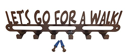 Dog Leash Holder. Lets Go For A Walk. Handmade in USA. Copper Vein Finish.14 Inch Wide. With Screws.