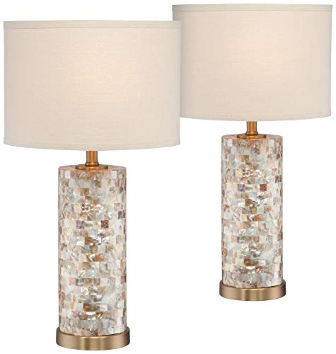 Margaret Coastal Accent Table Lamps Set of 2 Mother of Pearl Tiles Cylinder Cream Linen Drum Shade for Living Room Bedroom - 360 Lighting