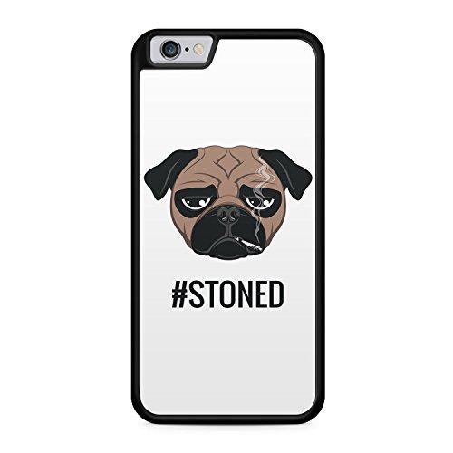 #STONED Mops Hund - SILIKON Hülle für iPhone 6 & 6s - TPU Schutz Cover Case Schale Pug Weed Gras Fun Lustig