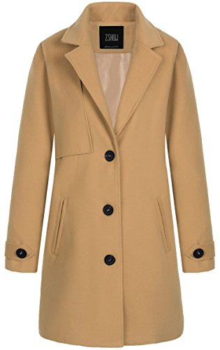 ZSHOW Women's Single Breasted Solid Color Classic Pea Coat X-Large Light (Beige Wool Coat)