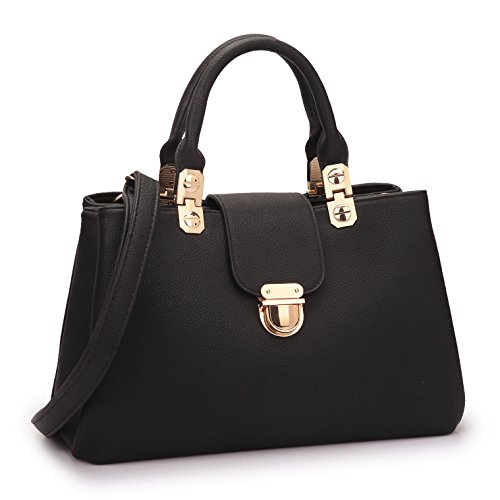 Pink Stitched Black Leather Tote - Dasein Women Handbags Top Handle Satchel Tote Purse Ladies Leather Shoulder Bag