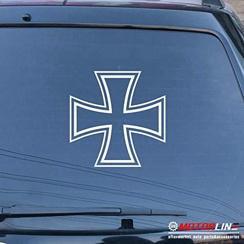 (3S MOTORLINE Iron Cross Decal Sticker Germany Deutschland Car Vinyl Pick Size Color no bkgrd (White, 4'')