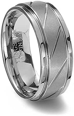 Brushed Finish Tungsten Ring Diagonal Grooves 7MM Width