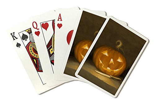 Jack-O-Lantern - Halloween Oil Painting (Playing Card Deck - 52 Card Poker Size with Jokers)]()