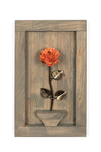 (Personalized Gift Hand-Forged Copper Metal Rose with Wood Hanging)