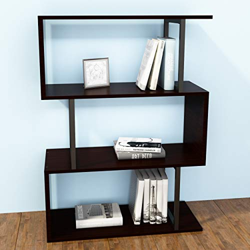 SIMPDIY Bookshelf Rack,Industrial Bookcase,3-Tier Wood-Look Steel Frame Storage Shelf, Easy-Assembly Metal Frame…