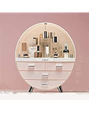 Cosmetic Display Cases Cosmetic Cases Organizer Makeup Organizer Makeup Storage Case Cosmetic Box Drawer Dustproof with Brush Holder Waterproof (Color : Pink, Size : L)