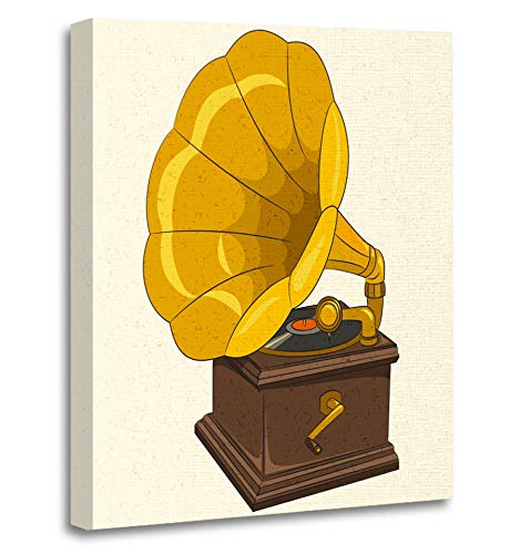 Dream Gold Framed Record (Emvency Painting Canvas Print Artwork Decorative Print Brown Gramophone Retro Music Colorful Phonograph Antique Audio Black Cartoon Wooden Frame 16x20 inches Wall Art for Home Decor)