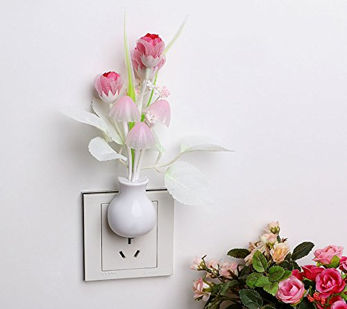 (UNAKIM-GUT Sensor Night Light Mushroom LED Lamp Plug Romantic Colorful Home Decor)
