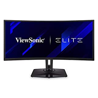 """ViewSonic Elite XG350R-C 35"""" UltraWide 21:9 Curved 1440p 100Hz RGB Gaming Monitor with FreeSync HDR10 and Advanced Ergonomics for Esports"""