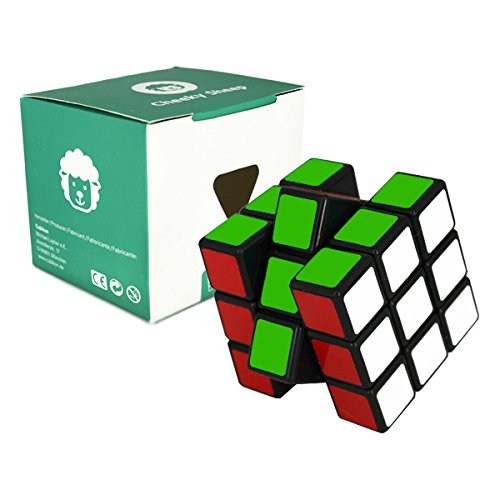 Speed Cube 3x3 - schwarz - 3x3x3 Zauberwürfel Speedcube - Cubikon Typ Cheeky Sheep