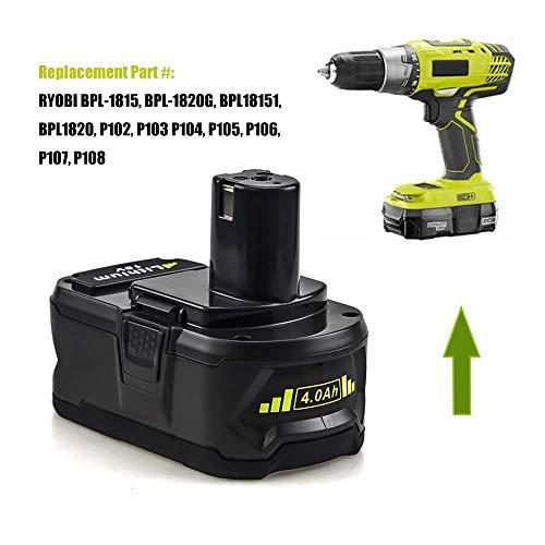 Replace for Ryobi 18v 4000mAh High Capacity Lithium Battery 18 Volt ONE+  P102 P103 P105 P107 P108 P109 130269014 Cordless Tools Batteries 2 Packs
