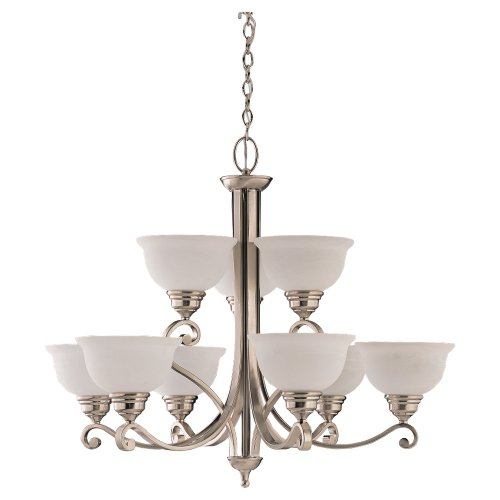 Sea Gull Lighting 31192-962 Serenity Nine-Light Chandelier, Brushed Nickel Finish with Alabaster Glass