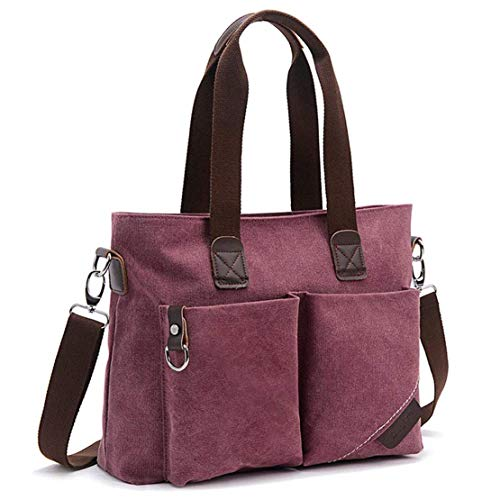ToLFE Women Top Handle Satchel Handbags Tote Purse Shoulder Bag (Purple-(Large))