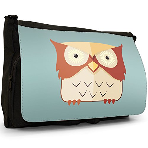 Staring Black Laptop Fun Large Funky Messenger Awesome Old School Brown Owl Light Bag Owls Wise Canvas Shoulder Yellow 0xxFw7