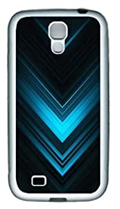 Abstract Blue Arrows Custom TPU Rubber Case Cover for Samsung Galaxy S4 / SIV / I9500 White