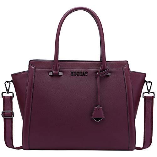 - 15.6 Inch Laptop Bag for Women,Multi-Pocket Laptop Briefcase Work Tote Bag Business Travel Bag,Darkpurple