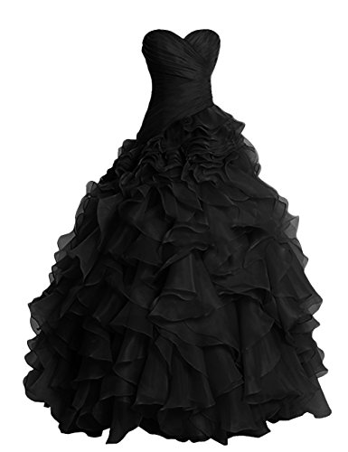 Dresstells Long Prom Dress Sweetheart Wedding Bridal Gown Organza Ball Gown Black Size16