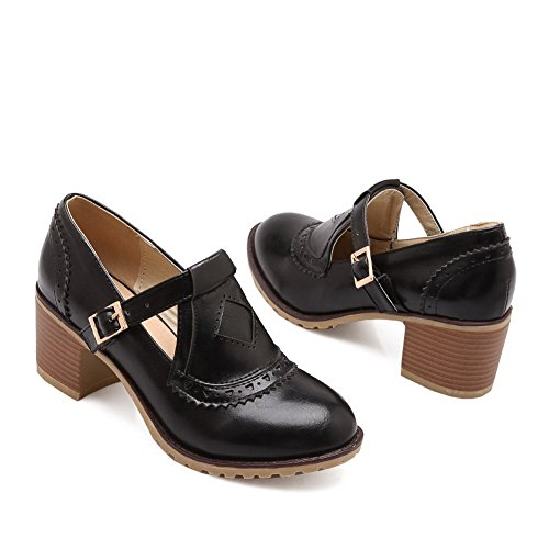 BalaMasa Ladies Carved Flower Studded Rhinestones Metal Buckles Imitated Leather Pumps-Shoes Black gGXmZ