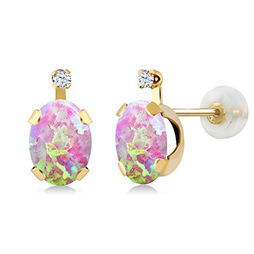 Gem Stone King 1.28 Ct Cabochon Pink Simulated Opal & Created Sapphire 14K Yellow Gold Earrings