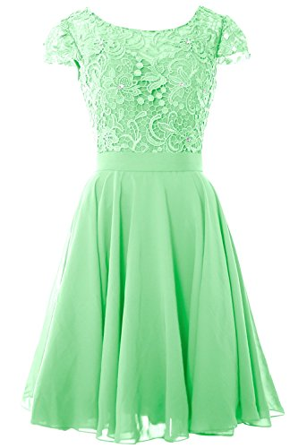 MACloth Women Cap Sleeve Mother of the Bride Dress Lace Short Formal Party Gown Menta