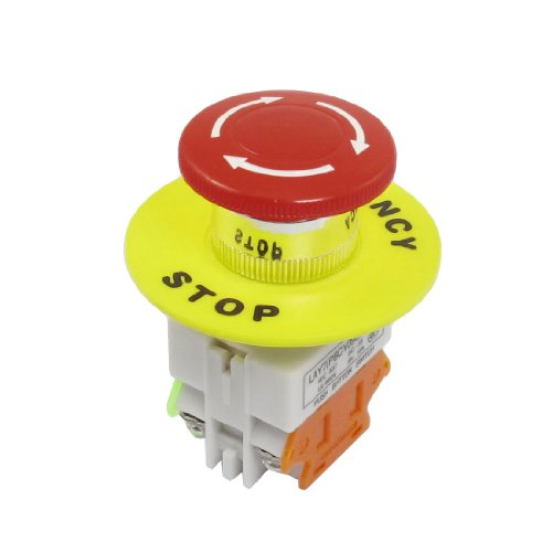 uxcell Red Mushroom Cap 1NO 1NC DPST Emergency Stop Push Button Switch AC 660V 10A (Button Push Stop Switch)