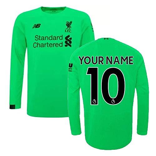- 2019-2020 Liverpool Away Long Sleeve Goalkeeper Football Soccer T-Shirt Jersey (Kids) (Your Name)