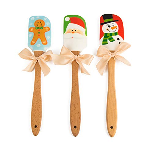 Silicone Spatula, Caliamary 3 Pieces Kitchen Silicone Spatula Set, Christmas Cake Decorating Spatula with Wooden Handle, Snowman Gingerbread Man and Santa Claus Pattern