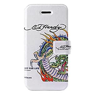Bkjhkjy Fashion Dragon Pattern Leather Case with Holder & Card Slots for iPhone 5C
