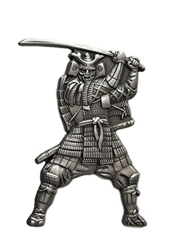 Ancient Japanese Samurai Warrior with Katana Sword, Emperor Lapel Pin (Silver/Pewter), 1 piece, Blade, Brooch, Japan's Rising Sun, Bushido Code, Imperial Dynasty & Empire.