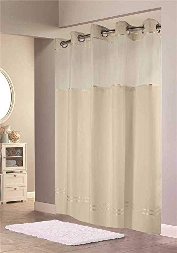 Stripes Snap Beige (Hookless HBH40E258 Escape Shower Curtain, With Snap In Liner, Beige With Beige Stripe, 71
