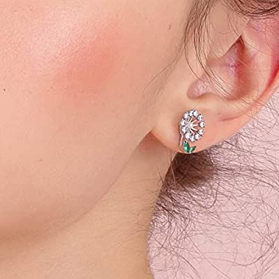 Cute Gifts for Teen Girls Flower Stud Earrings for Girls,Green Leaves Jacket Earrings for Teen girls,CZ and Gold Plated Alloy Silver Earrings for Women Green Leaf Stud Earrings