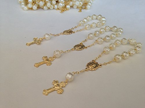 25 Pc Ivory Color Baptism Favors Gold Plated Accents Mini Rosaries Gold Plated Acrylic Beads/Recuerditos De Bautismo/Christening Favors/Decenarios/Decades/Finger Rosaries for $<!--$25.29-->