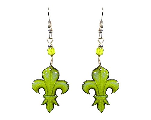 Fleur de Lis Symbol Dangle Earrings (Lime Green)
