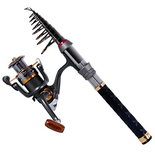 Sougayilang Fishing Rod Reel Combos Pocket Portable Fishing Pole with Left Right Hand Spinning Reel for Outdoor Travel Freshwater Fishing (Backpacker Fishing Rod And Reel)
