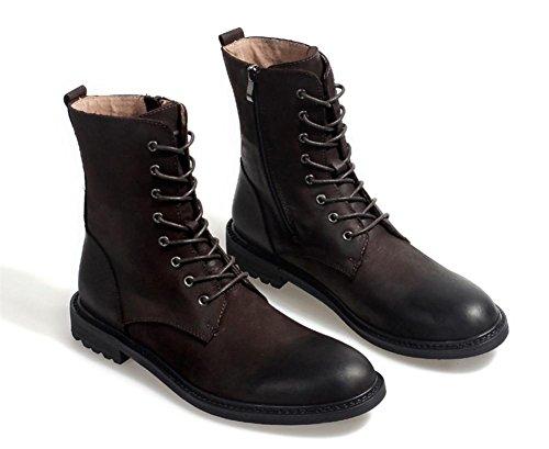 Moda Moda Brown spessore inferiore balestruccio Nero Inverno Retro Parte Parte alto Scarpe Uomini Esercito Autunno Pelle All'aperto Stivali Di waFqIT