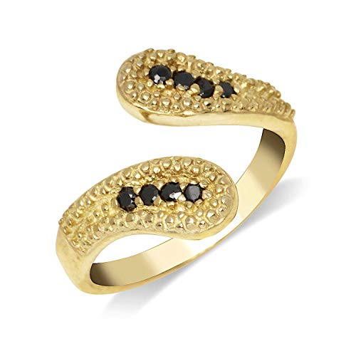 JewelryWeb Solid 10K Yellow or White Gold Elegant Beaded Bypass Adjustable Black Cubic Zirconia CZ Toe Ring (14mmx15mm) (Yellow-Gold)
