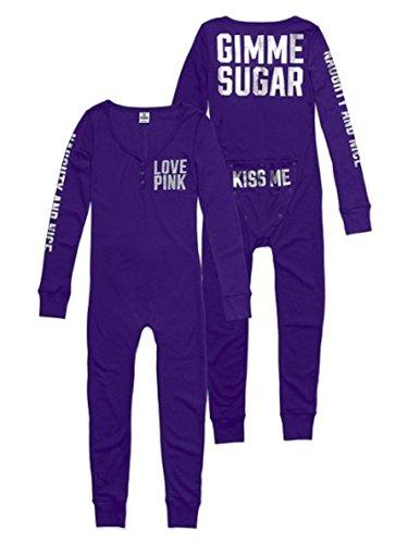 Victoria's Secret PINK Onesie Pajamas Medium Purple Bling Gimme Sugar