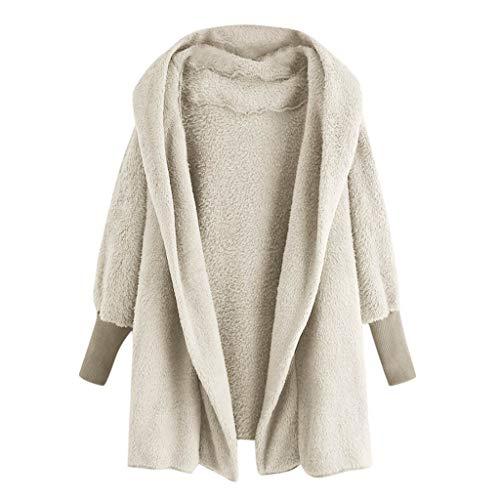 Women's 2019 Faux Fur Hooded Coat Fuzzy Fleece Loose Jacket Soft Hoodie Oversized Parka by JMETRIE Beige