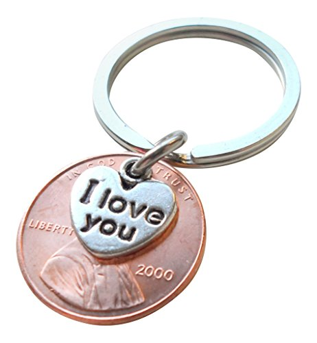 I Love You Heart Charm Layered Over 2000 Penny Keychain, 19 year Anniversary Gift, Birthday Gift, Couples Keychain