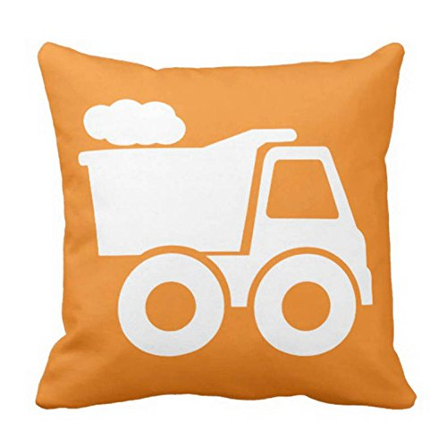 Newhomestyle Throw Pillow Cover Dump Truck in Orange & White Decorative Pillow Case Home Decor Square Cushion Pillowcase 18x18 inches ()